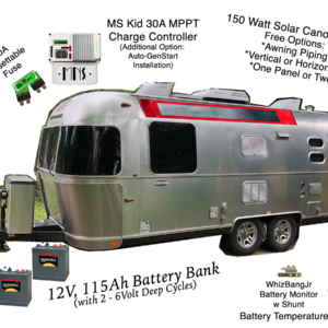 flexible vanopy solar panels on new airstream with deep cycle battery bank and midnite solar kid charge controller